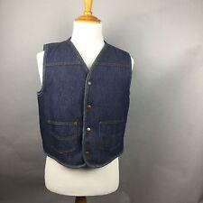 Vintage Sears Roebuck Size L Sherpa Fleece Lined Trucker Vest Heavy Denim