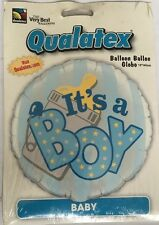 "18"" /46 Cm - It's A Boy - Metallic Foil balloon - Bottle Nappy Pin Baby Boy New"