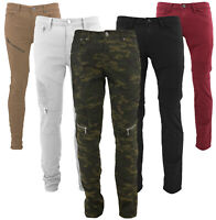 Contender Men/'s Cotton Moto Quilted Zip Distressed Ripped Destroyed Denim Jeans
