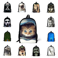 "Womens Girls Horse Pug Cat Wolf School Travel Backpacks Student Bag Rucksack 17"""