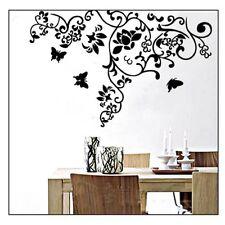 Wandtattoo Wandaufkleber Blüte Schmetterlinge Blumenranke Wohnzimmer Wandtatoos
