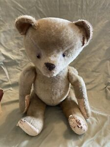 """Large 23 """" Antique Teddy Bear Jointed hand stitches, Glass Eyes Head Swivels"""