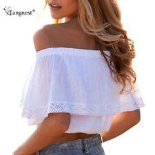 Summer/Beach Cotton Blend Crop Tops for Women
