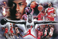 "Michael Jordan Chicago Bulls Basketball - Collage Painting- 24"" x 36"" Poster NEW"