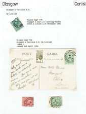 Glasgow & Carlisle Up Limited 1905 TPO pmk on PPC + others on stamps as scan