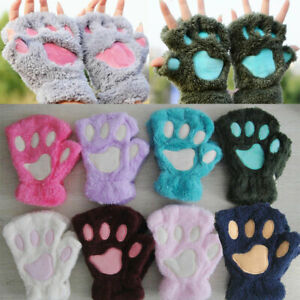 Women Bear Plush Cat Paw Claw Gloves Winter Faux Fur Fingerless Mittens Gloves
