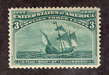 US 232 @ (1893) 3c MRG; Grade =S; Flag Ship of Columbus