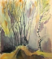 Vintage impressionist watercolor painting landscape forest trees
