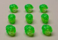 x9 NEW Lego Brain Heads Headgear Alien Minifig Parts TRANS BRIGHT GREEN