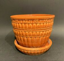 Vintage McCoy Pottery 1961 Orange Flower Pot With Attached Saucer Shape 117-4