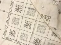 Vintage Unused Hand Embroidered Drawn Thread Cream Linen Chinese Table cloth