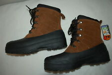 Mens BROWN LEATHER WINTER SNOW BOOTS Insulated COLD WEATHER -5 DEGREE Size 8
