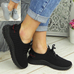 Womens Running Trainers Ladies Lace Up Sneakers Slip On Jogging Gym Comfy Shoes