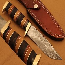 Damascus Steel Hunting Skinner Knife Handle Bras Guard,Lather,Wood,Brass(QN191)