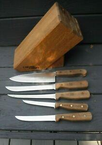 Vintage CHICAGO CUTLERY 5 Piece Knife Set w/Block 42S 61S 62S 66S & 78S walnut