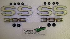 SS 396 Fender Emblems 6pc set 69-72 Chevelle El Camino w clips Nice 69 70 71 72