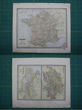 France Switzerland Roman Empire Vintage Original 1885 Cram's World Atlas Map Lot