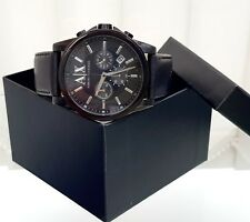 ARMANI EXCHANGE Mens Watch Genuine Black Ion Plated Chronograph RRP £249 (p150