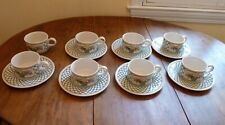Set of 7 Villeroy & Boch Basket Coffee Tea Flat Cups & Saucers + 1 cup