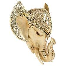 Golden Pearl Effect Elephant Head Wall Art Hanging Animal Trophy 20cm x 17cm