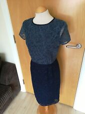 Ladies Dress Size 12 NEXT Navy Blue Lace Wiggle Pencil Party Evening Wedding