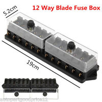 Universal Car Truck Boat 12 Way 12V Standard Circuit Blade Block Fuse Box Holder