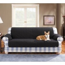 Sure Fit 100% Cotton Duck Sofa Pet Throw Black (Diamond pattern)