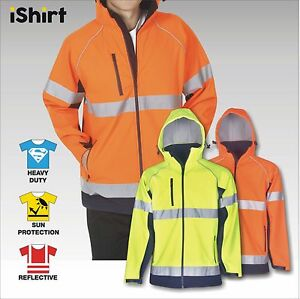 HI VIS SAFETY JACKET SOFT SHELL REFLECTIVE WATERPROOF WINDPROOF WITH HOODED