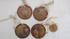 Thanksgiving Glitter Disk Ornaments Vintage Style Prints ~ 9667 New 4pc Harvest