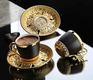 Coffee Cups And Saucer 12Pcs Turkish Espresso Porcelain Demitasse Vintage Set