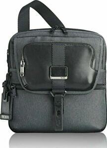 New TUMI Alpha Bravo Arnold Zip Flap Messenger Bag Graphite Gray Black Leather