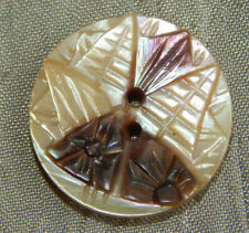 Antique Vintage Button Carved Mother of Pearl #014-A
