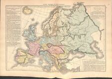 Europe ethnies Juifs Etrusques Ibères Phéniciens Arméniens Arabes MAP CARTE 1878