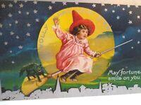 Vintage Halloween Postcard Witch Black Cat Moonlight Fortune Original Unused AMP
