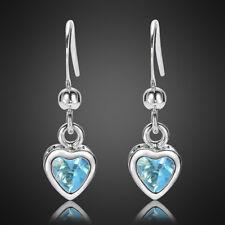 Sale! Fashion Lady Heart Aquamarine White Gold Plated Earring Drop Earing Nr