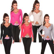 Pullover Wickel Look V-Ausschnitt Pulli Sweater XS 32 34 36 Party Freizeit sexy