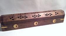 Hand Carved Wood Incense Burner Smoke Box Ash Catcher Yin Yang Brass Inlay