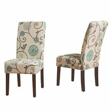 Richland Contemporary Fabric Dining Chairs, Set of 2, Light Beige with Blue Flor