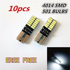 10x White T10 W5W 24SMD Car Wedge Light Bulbs 4014 LED License Plate Lights Lamp