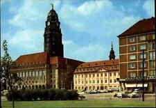 DRESDEN Sachsen AK DDR Postkarte mit Rathaus, Gewandhaus, Geschäft Autos color