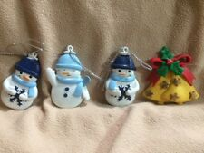 """Lot 4 -Small Christmas Ornaments 2"""" Snowmen, Bells  Non Breakable Detailed"""