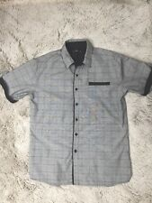 Caviar Dremes Button Front Shirt Mens Size XL Grey with black trim pre-owned