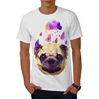 Wellcoda Pug Dog Rain Cool Funny Mens T-shirt, Tear Graphic Design Printed Tee