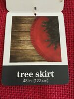 """NEW December Home 48"""" Red Canvas Christmas Tree Skirt"""