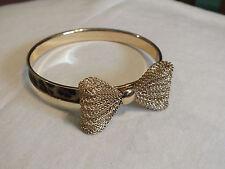 Beautiful Bangle Bracelet Gold Tone Leopard Mesh Bow 2 3/4 x 3/8 Wide UNIQUE