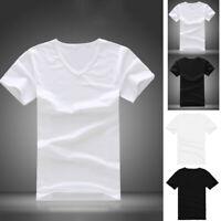 Men's Cotton V Neck T-shirt Slim Fit Short Sleeve Casual Tops Tee Black/White
