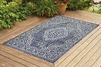 Contemporary Indoor/ Outdoor Sisal Area Rug for Garage, Garden Kitchen | Navy