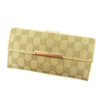Gucci Wallet Purse Long Wallet G logos Beige Pink Woman Authentic Used A1168
