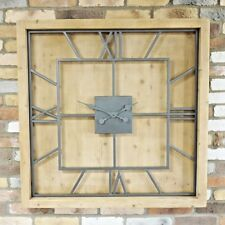 100cm Extra Large Solid Wooden & Metal Square Roman Numerals Wall Clock 1m Wide