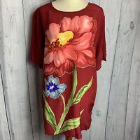 Diane Von Furstenberg  S/ Sleeve Silk Blouse Women's Size Medium Dark Red Floral